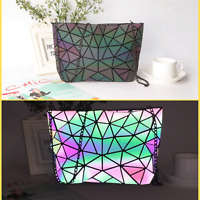 Luminous Women Geometric laser Tote Shoulder Bags Laser Plain Folding Handbags
