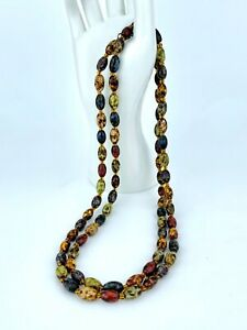 LONG MULTIPLE MIXED AGATE BEAD NECKLACE - Length 43inch - 65gram