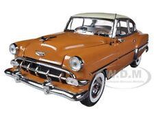 1954 CHEVROLET BEL AIR HARD TOP COUPE TAN/IVORY 1/18 MODEL CAR SUNSTAR 1708