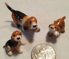 Vtg Japan Miniature Porcelain China  Dog Hound Family Figurine 2 Pc Set