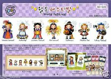 """""""The World Festivals - Girls"""" Counted cross stitch pattern leaflet . SODA SO-G43"""