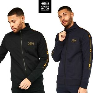 Mens Crosshatch Zipped Sweater Jacket Funnel Neck Tracksuit Top Zipped Pockets