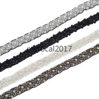 1 Yard Beads Ribbon Lace Trim Applique Bridal Sewing Craft Wedding Dress Decor