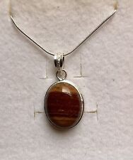 Rare Chocolate Stripped Onyx 925 Silver Pendant & 925 Silver Chain