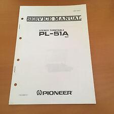 Pioneer PL-51A (KUT) Turntable Repair / Service Manual Factory Original Rare!