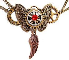 STEAMPUNK BUTTERFLY WINGS NECKLACE chains gears bird wing choker bronze new Z6