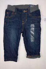 New Baby GAP Boys 6-12 Months Denim Jeans Pants Ribbed Gray Waist Fleece Lined