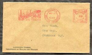 p1401 - VICTORIA BC 1948 Slogan Meter Cancel on Cover to Cranbrook ✉