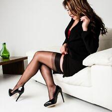 seamed nylon stockings Fully Fashioned Retro ENGLISH CUBAN HEEL, Size S 8 1/2
