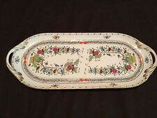 HEREND HUNGARY INDIAN BASKET MULTICOLOR SANDWICH TRAY LONG PLATTER GOLD