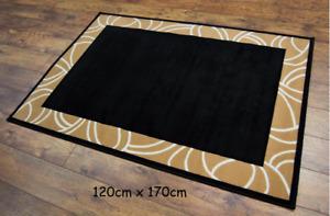 LUXURY CARPET RUG BLACK LARGE 120cm x 170cm LIVING ROOM LOUNGE CONSERVATORY