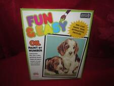 Vintage 1990 Puppies Fun & Easy Oil Paint By Number Craft House #10102 Sealed
