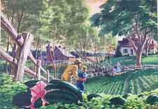 """JAMES ANTHONY KELLY ORIGINAL WATERCOLOR """"THE WATERMELON PATCH"""""""