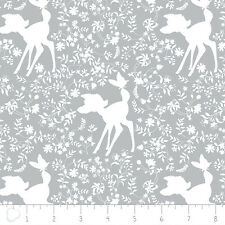 Camelot Disney Bambi Silhouette in Grey 100% cotton fabric by the yard