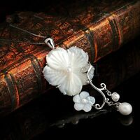 New Fashion Women's Mother of pearl Abalone Carved Shell Flower Pendant Necklace