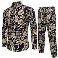 Mens Casual Hot Long Sleeve Shirt Business Slim Fit Shirt Print Blouse Top+Pants