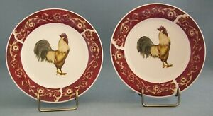 Oneida Farmhouse Rooster Salad Plate White Black Set Of 2 Casual Settings