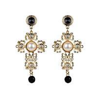 Women's  Big Vintage Cross Statement Earrings With Crystals Earring Dwwj