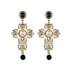 Women's Big Vintage Cross Statement Earrings With Crystals Pearl Earring