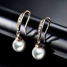 Women Sapphire Crystal Yellow Gold Filled White Pearl Dangle Drop Earrings