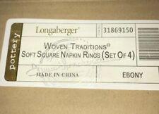 Longaberger Woven Traditions Soft Square Pottery Napkin Rings Ebony!