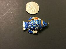 Articulated Flexible Cloisonné Blue Enamel CHINESE KOI FISH Wiggle Pendant