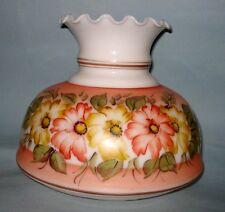 "VTG 7"" Fitter GWTW Hurricane Parlour LAMP SHADE Milk Glass Hand Painted Flowers"