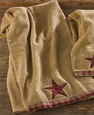 Rustic Country Primitive Sturbridge Star Terry Bath Towel Farmhouse Cabin
