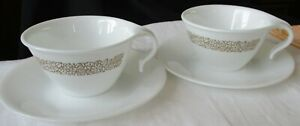 TEN (10) CORELLE USA GLASS CUPS & SAUCERS WITH TAN FLORAL DESIGN