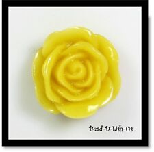 20mm Resin Rose Flower Cabochon Cameo Flatback DIY jewellery r22 - Mustard -2pcs