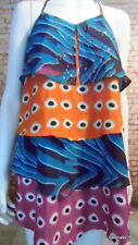 stunning orange teal rasberry black white spot halter frill dress 12 next
