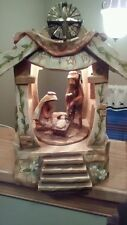 Roman Inc. Christmas lighted Rotating musical Nativity manger O come let us
