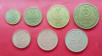 Soviet Union Set Of 7 Coins ,1 ,2 , 3 ,5 , 10 ,15 ,20 Kopeks 1983 ,VF - UNC