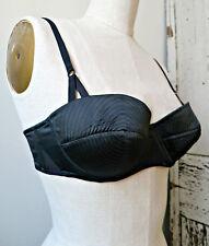 AF Vandevorst Nightfall black silk satin 1950s style Pin-up bra, 34B, NWT