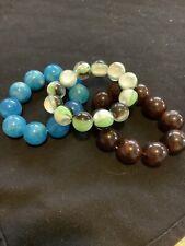 Elastic Bracelets .99 Cent Sale Lot Of 3 Plastic Marble