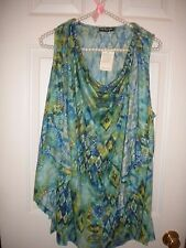 Cha Cha Vente green & blue sleeveless knit blouse draping on sides NWT 1X