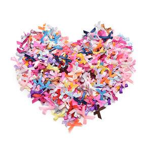 500X Assorted Mini Satin Ribbon Bows Tied Craft Embellishment Wedding SM