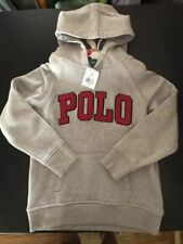 Polo Ralph Lauren NWT Boy Size 5 Grey Hooded Sweatshirt with Pouch Pocket