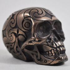 Celtico Teschio Bronzo Piccola Scultura Ornamento Design CLINICA Tribale H3.5cm 16030