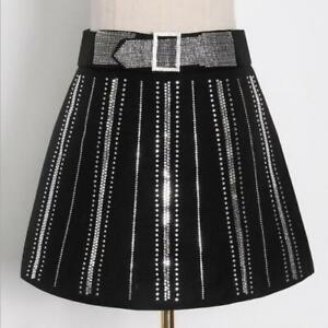 Women's 2021 New Fashion Diamante Buckle Strap Belt A-Line Short Mini Skirt SKGB