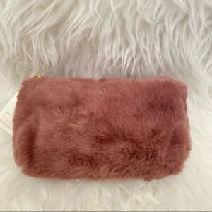 Plush Faux Fur Cosmetic Makeup Zip Pouch Mini Case Brand NWT