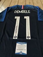 Ousmane Dembele Autographed/Signed Jersey Beckett COA France Soccer