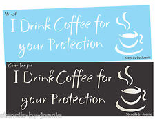 Joanie STENCIL Drink Coffee Protection Mocha Latte Kitchen Cup Cafe Fun Art Sign