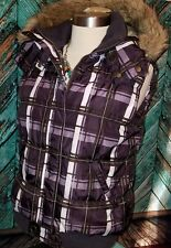 EUC H2J Purple White Plaid Snap Zip Up Vest Removable Fur Hood Sz Medium, Winter