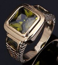 Fashion Olive Cut Size 12 Wedding Peridot 18K Gold Filled Anniversary Men's Ring
