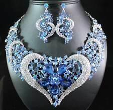 Heart Blue Austrian Rhinestone Crystal Bib Necklace Earrings Set Bridal N1620b