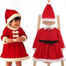 1 Set Kids Baby Infant Girls Dress Santa Claus Christmas Gift Hat and Dress Red