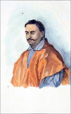 OCÉANIE - TAHITI : PORTRAIT du ROI POMARE II - Gravure 19e aquarellée à la main