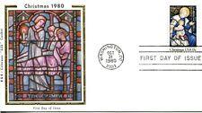1980 COMMEMORATIVE CHRISTMAS RELIGIOUS COLORANO SILK CACHET & STORY UNAD FDC