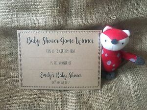 x10 Personalised Baby Shower Game, Activities Winners Certificates A5 Kraft Card